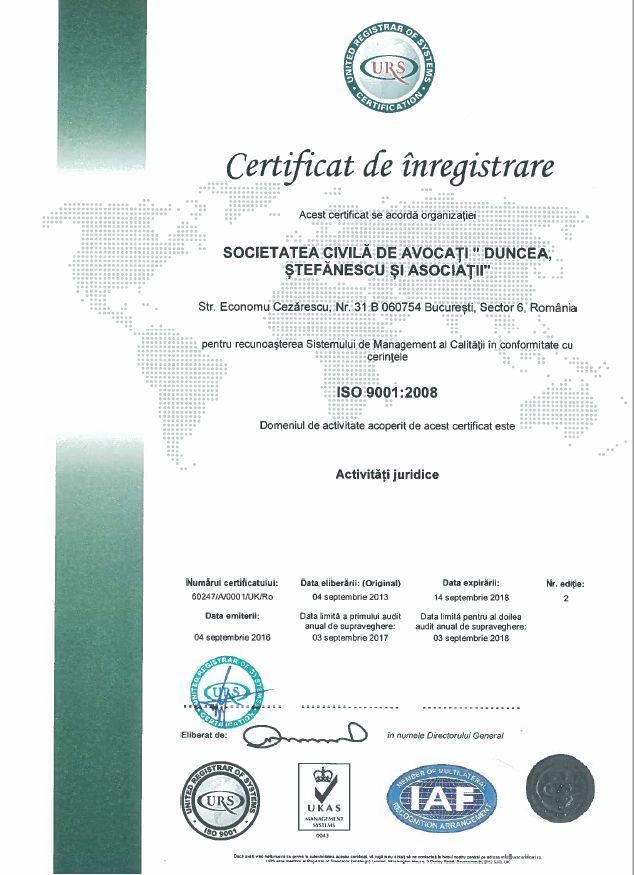 Duncea Stefanescu_Certificat ISO 9001_2008 foto